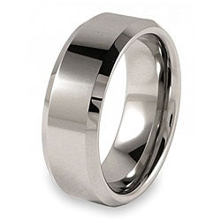 Men&#39;s Tungsten Polished Beveled Edge Band (8 mm)