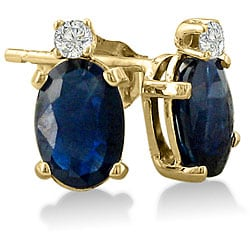 14k Yellow Gold Sapphire and Diamond Stud Earrings