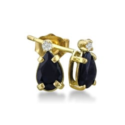 14k Yellow Gold Sapphire and Diamond Earrings ( J/K, I1 )