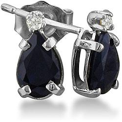 14k Gold Blue Sapphire and Diamond Teardrop Earrings