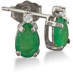 14k White Gold Emerald and Diamond Stud Earrings
