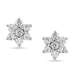 Miadora 14k White Gold 1/4ct TDW Diamond Cluster Earrings (H-I, I2-I3)