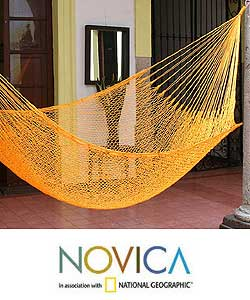 Hand-woven &#39;Orange Sonata&#39; Hammock (Mexico)