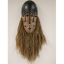 Handmade Jute-beard Tribal Mask (Ghana)