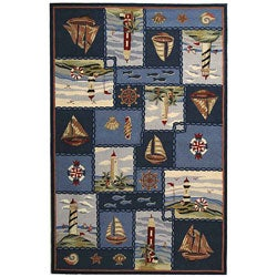 Hand-hooked Nautical Blue Wool Rug (6' x 9')