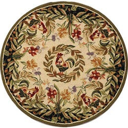 Hand-hooked Rooster and Hen Cream/ Black Wool Rug (4' Round)