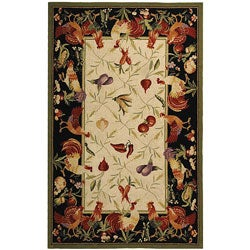 Safavieh Hand-hooked Rooster Garden Ivory/ Black Wool Rug (5'3 x 8'3)