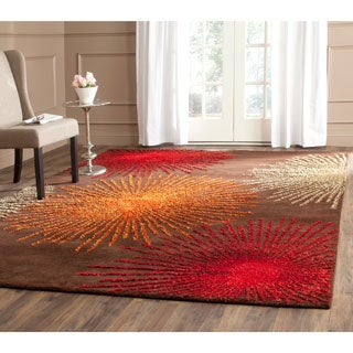 Safavieh Handmade Soho Burst Brown New Zealand Wool Rug (7'6 x 9'6)