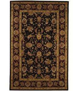 Safavieh Handmade Isfahan Black/ Burgundy Wool and Silk Rug (6' x 9')