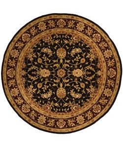Safavieh Handmade Isfahan Black/ Burgundy Wool and Silk Rug (8' Round)
