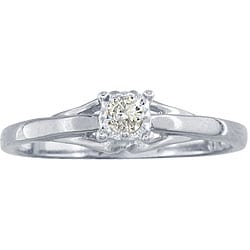 10k White Gold Diamond Promise Ring (K,I1)