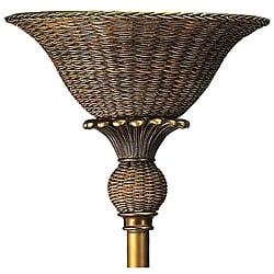 Tropical Wicker Torchiere Floor Lamp