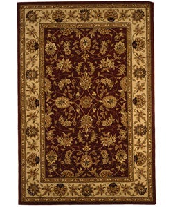 Handmade Isfahan Burgundy/ Ivory Wool and Silk Rug (6' x 9')