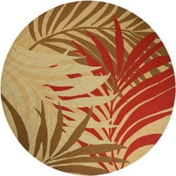 Hand-hooked Tropic Indoor/ Outdoor Multicolored Floral Rug (8' Round)