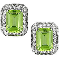 Miadora 10k Gold 1/5ct TDW Diamond and Peridot Earrings