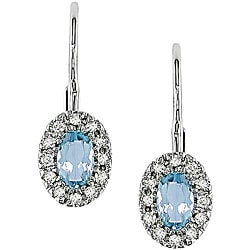 10k Gold Blue Topaz and 1/10ct TDW Diamond Earrings