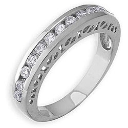 Simon Frank 14k White Gold Overlay Stackable Cubic Zirconia Gallery Band