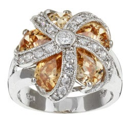 Sterling Essentials Sterling Silver Champagne CZ Crown Ring
