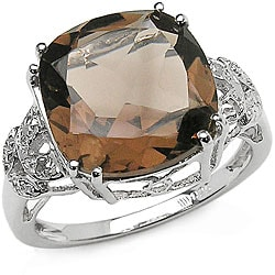 Malaika Sterling Silver Smokey Quartz and Diamond Ring