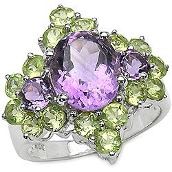 Malaika Sterling Silver Genuine Amethyst and Peridot Ring