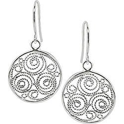 Miadora Sterling Silver Carved Circle Hook Earrings