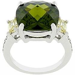 Kate Bissett Silvertone Olive Jonquil CZ Ring
