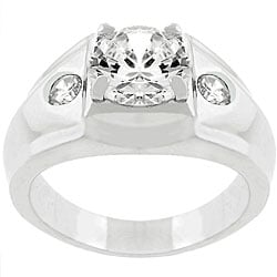 Silvertone Men's Clear CZ 3-stone Ring
