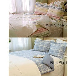 Blue Plaid or Multi-colored Seersucker Coverlet Set