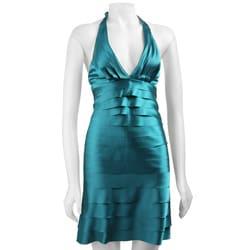 London Times Women's Shutter Pleat Halter Dress