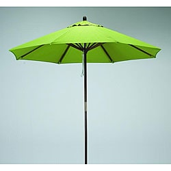 Round 9-foot Lime-Green Polyester/Hard Wood Patio Umbrella