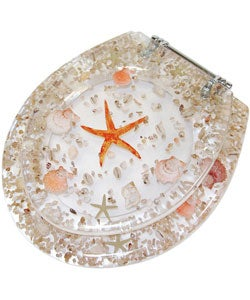 Clear Acrylic Toilet Seat with Sea Shells
