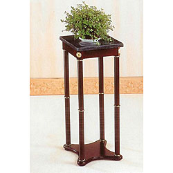 Green Marble High Top Cherry Finish Wood End Table