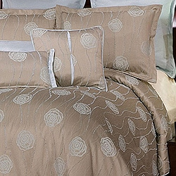Suave Light Brown/ Blue Jacquard 9-piece Comforter Set | Overstock.