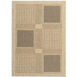 Indoor/ Outdoor Lakeview Sand/ Black Rug (4' x 5'7)