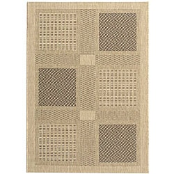 Safavieh Indoor/ Outdoor Lakeview Sand/ Black Rug (4' x 5'7)