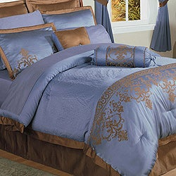 Blue Jacquard 22-piece King Comforter Set
