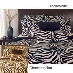 Microplush Zebra Print 3-piece Comforter Set