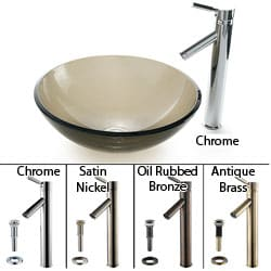 Kraus Clear Brown Glass Sink/ Sheven Bathroom Faucet