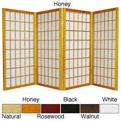 Wood/ Paper 3-foot 4-panel Miniature Windowpane Shoji Screen (China)