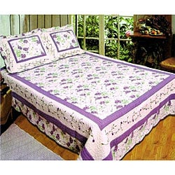 Monica Handcrafted Purple 3-piece Quilt Set