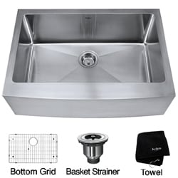 Kraus 30-inch Farmhouse Apron Single Bowl Steel Kitchen Sink
