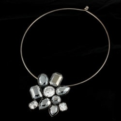 R.J. Graziano Gunmetal Resin Stone Necklace