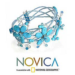 Stainless Steel 'Wreath of Blue' Bracelet (Thailand)