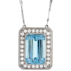Platinum Aquamarine and 3ct TDW Diamond Estate Necklace (H, SI1)