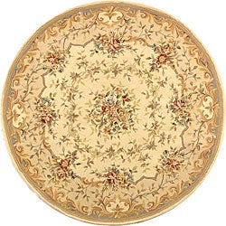 Handmade Bouquet Ivory/ Blue Wool and Silk Rug (4' Round)
