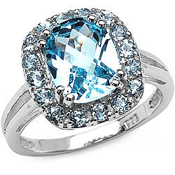 Malaika Sterling Silver Genuine Blue Topaz Ring