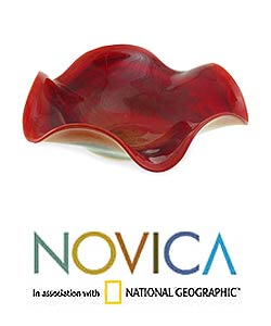 Murano 'Fire Centerpiece' Hand-blown Bowl (Brazil)