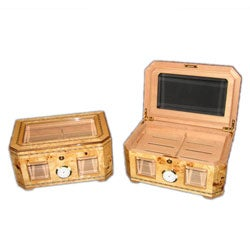Glass-top Napa Burl High-gloss Cigar Humidor