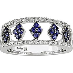 14k Gold Blue Sapphire and 1/4ct TDW Diamond Ring