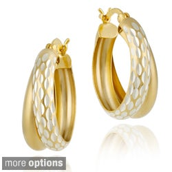 Mondevio 22k Gold/ Silver Double Hoop Diamond-cut Earrings